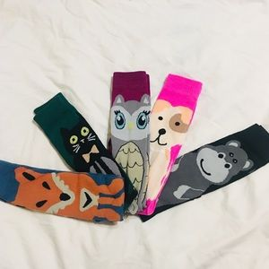 Accessories - NWOT 5 Animal Knee Socks Fox Cat Owl Dog Hippo